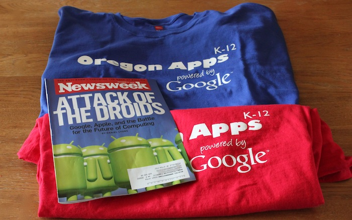 Google Summit shirts and magazine